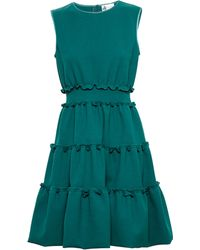 Lanvin Frilled Stretch Cotton Dress - Lyst