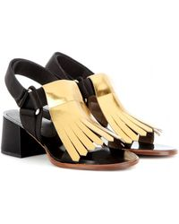 Marni Metallicleather and Satin Sandals - Lyst