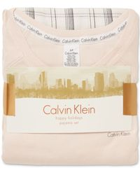 Calvin Klein Cotton Blend Top And Flannel Pant Pajama Set - Lyst