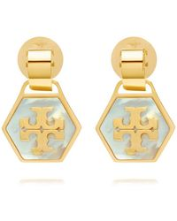 Tory Burch Mother-of-pearl Geo Drop Earring - Lyst