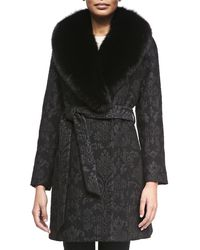 Sofia Cashmere Damask Brocade Wrap Coat With Fur Trim black - Lyst