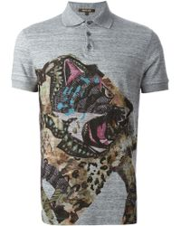 Roberto Cavalli Printed Polo Shirt - Lyst