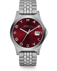 Marc By Marc Jacobs Henry Slim Stainless Steel Bracelet Watch/Red - Lyst