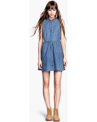 H&M Denim Dress - Lyst
