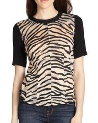 Rebecca Taylor Mixed-print Mixed-media Top - Lyst