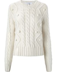 Carven Ecru Wool Cable Knit Jumper - Lyst