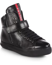Prada Leather High-top Sneakers - Lyst
