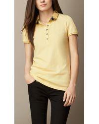 Burberry Check Collar Polo Shirt - Lyst
