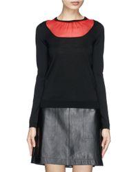 Valentino Silk Organza Insert Wool Sweater - Lyst