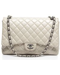 Chanel Pre-Owned Lambskin Maxi Single Flap Bag - Lyst