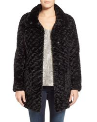 Eliza J - Collared Faux Fur Coat - Lyst