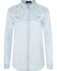 The Kooples Baroque Embroidered Denim Shirt - Lyst