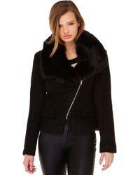 Akira Black Label - Winter Nights Fur Coat In Black - Lyst