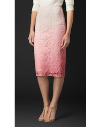 Burberry Dégradé Lace Pencil Skirt pink - Lyst