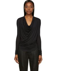 Helmut Lang Black Cowl Neck Kinetic T Shirt - Lyst