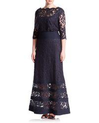 Tadashi Shoji Floral Lace Pintuck-Trim Gown blue - Lyst