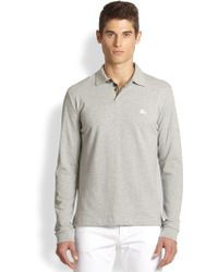 Burberry Brit Jersey Check Long-Sleeve Polo - Lyst