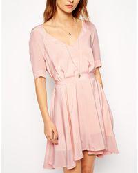 Twenty 8 Twelve Cordelia Short Sleeve Swing Silk Dress - Lyst