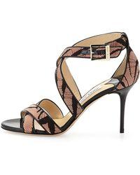 Jimmy Choo Louise Zebra-print Lace Sandal - Lyst