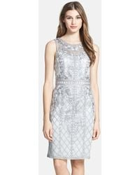 Sue Wong Illusion Yoke Embroidered Sheath Dress - Lyst