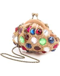 Santi Jeweled Clutch Gold - Lyst