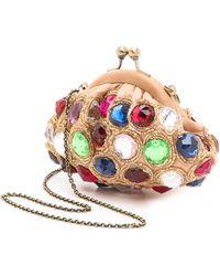 Santi Jeweled Clutch Gold - Lyst