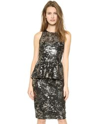 Lela Rose Sleeveless Peplum Top Black Metallic - Lyst