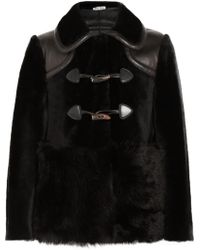 Miu Miu Leather Trimmed Shearling Duffle Coat - Lyst