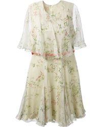 Giambattista Valli Floral Print Cape Dress - Lyst