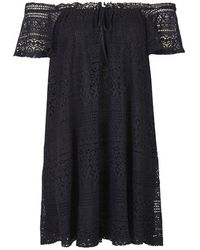 Topshop Lace Bardot Dress - Lyst