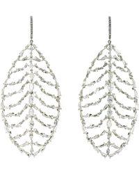 Sidney Garber - Women's White Diamond Leaf Drop Earrings - Lyst
