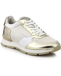 Giorgio Armani Metallic Leather & Mesh Sneakers - Lyst