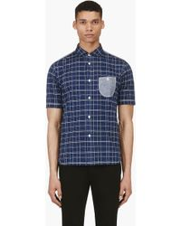Junya Watanabe Navy Short Sleeve Check Button Down Shirt - Lyst