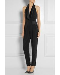 Alice By Temperley Alice Satin-Trimmed Twill Jumpsuit - Lyst