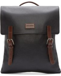 Dolce & Gabbana Black And Brown Leather Backpack - Lyst