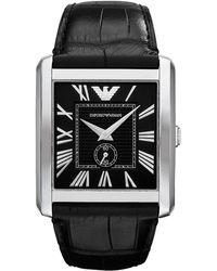 Emporio Armani Mens Stainless Steel Leather Square Watch - Lyst
