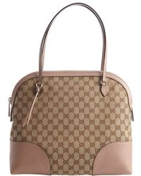 Gucci Ebony and Beige Gg Canvas Tote Bag - Lyst