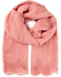 Valentino Pink Lace Scarf - Lyst