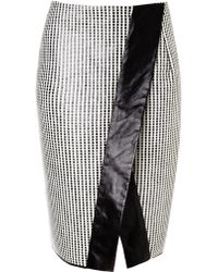Edun Monochrome Cellophane Check Skirt - Lyst