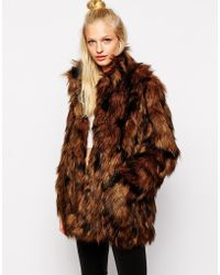 Monki Faux Fur Coat - Lyst