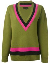 Jonathan Saunders Stripe Detail Vneck Sweater - Lyst