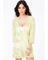 Missguided Jalina Crochet Kaftan in Lime - Lyst