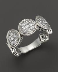 John Hardy Diamond Pave  Sterling Silver Wide Dot Ring - Lyst