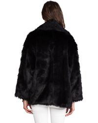 Alice + Olivia Alice Olivia Alita Oversized Shawl Collar Faux Fur Coat in Black - Lyst