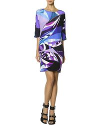 Emilio Pucci 34sleeve Printed Shift Dress Multicolor - Lyst