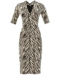 Antonio Berardi Zebra-Print Fitted Dress - Lyst