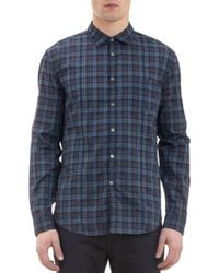 John Varvatos Crinkled Plaid Shirt - Lyst