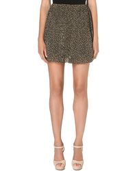 Michael by Michael Kors Floral Pleated Mini Skirt Beige - Lyst