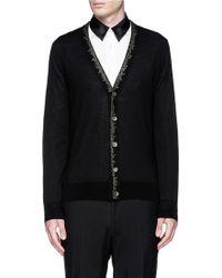Alexander McQueen Edge Embroidery Wool-Silk Cardigan black - Lyst
