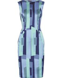 Lela Rose Printed Satin-twill Dress - Lyst